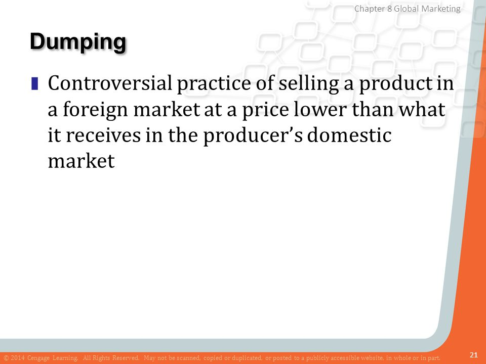 Dumping Controversial practice of selling a product in a foreign market at a price lower than what it receives in the producer's domestic market.
