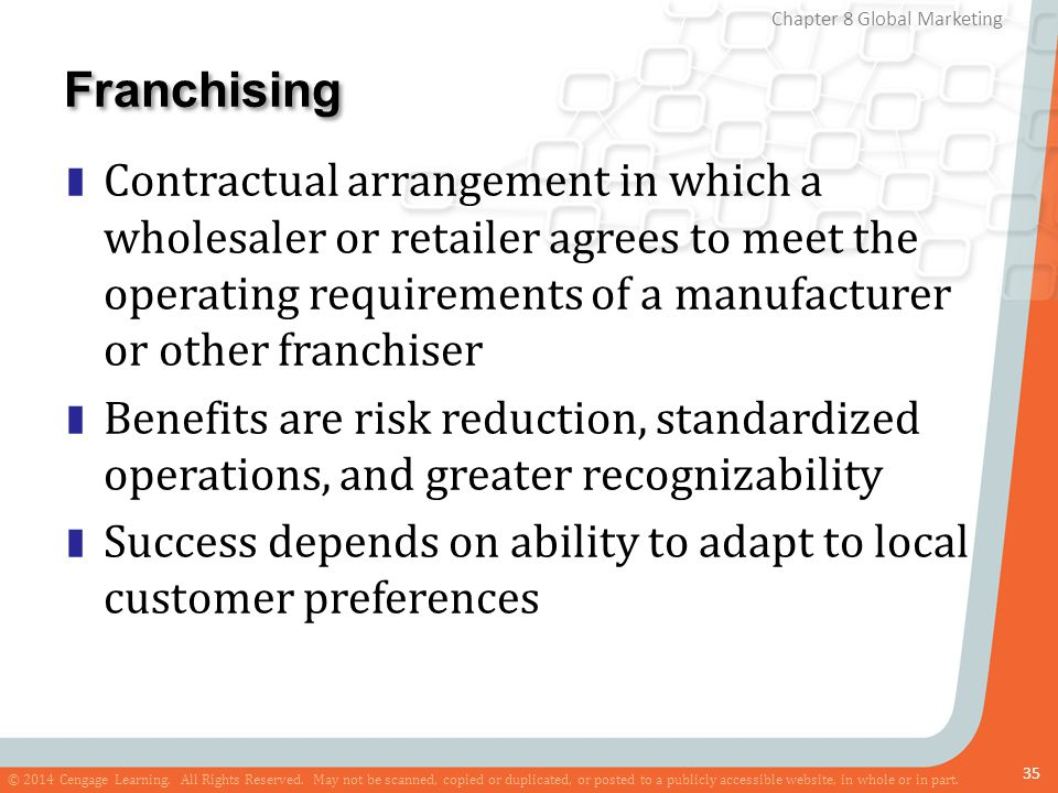 Franchising Contractual arrangement in which a wholesaler or retailer agrees to meet the operating requirements of a manufacturer or other franchiser.
