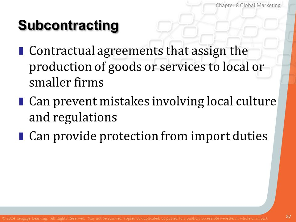 Subcontracting Contractual agreements that assign the production of goods or services to local or smaller firms.