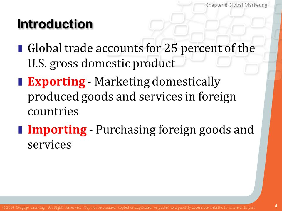 Introduction Global trade accounts for 25 percent of the U.S. gross domestic product.