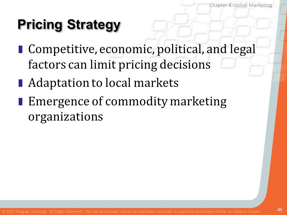Pricing Strategy Competitive, economic, political, and legal factors can limit pricing decisions. Adaptation to local markets.