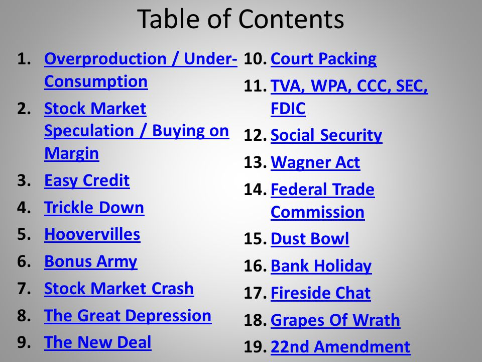 Table of Contents Overproduction / Under-Consumption Court Packing