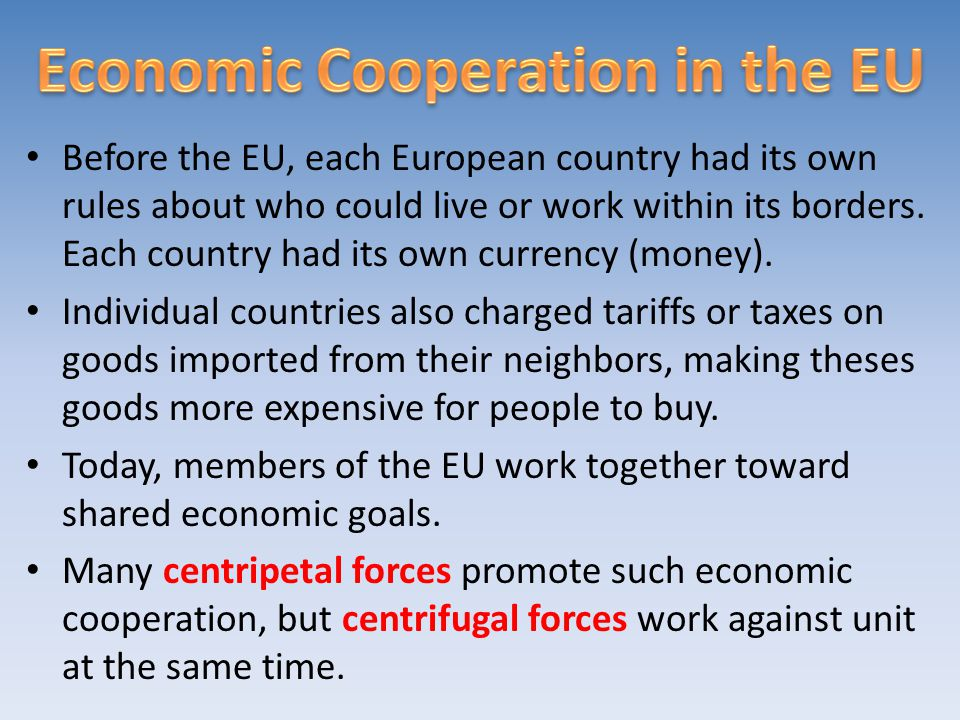 Economic Cooperation in the EU