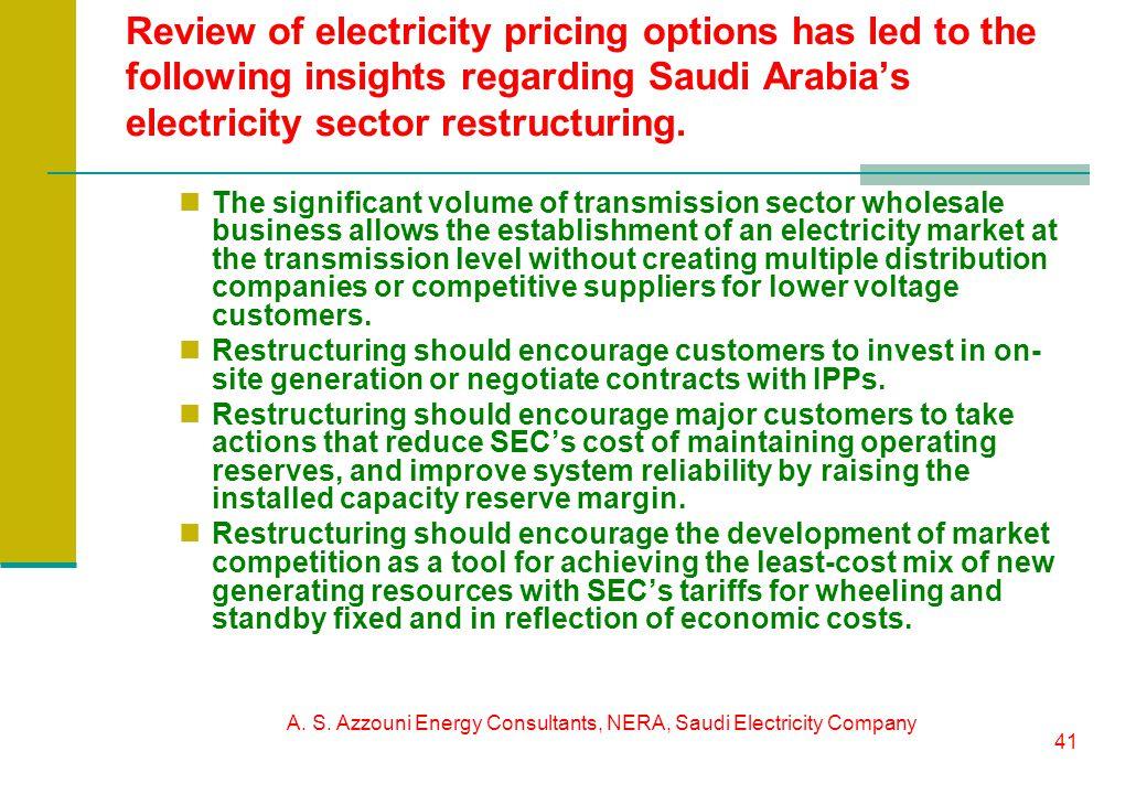 A. S. Azzouni Energy Consultants, NERA, Saudi Electricity Company