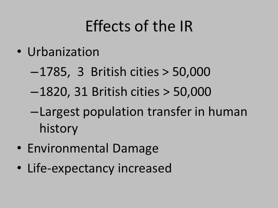 Effects of the IR Urbanization 1785, 3 British cities > 50,000