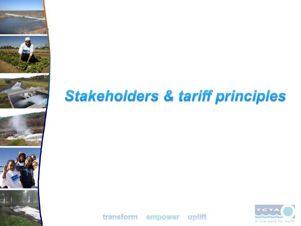 Stakeholders & tariff principles