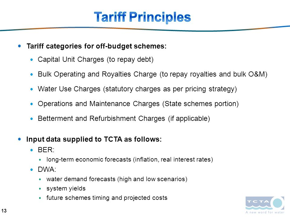 Tariff Principles Tariff categories for off-budget schemes: