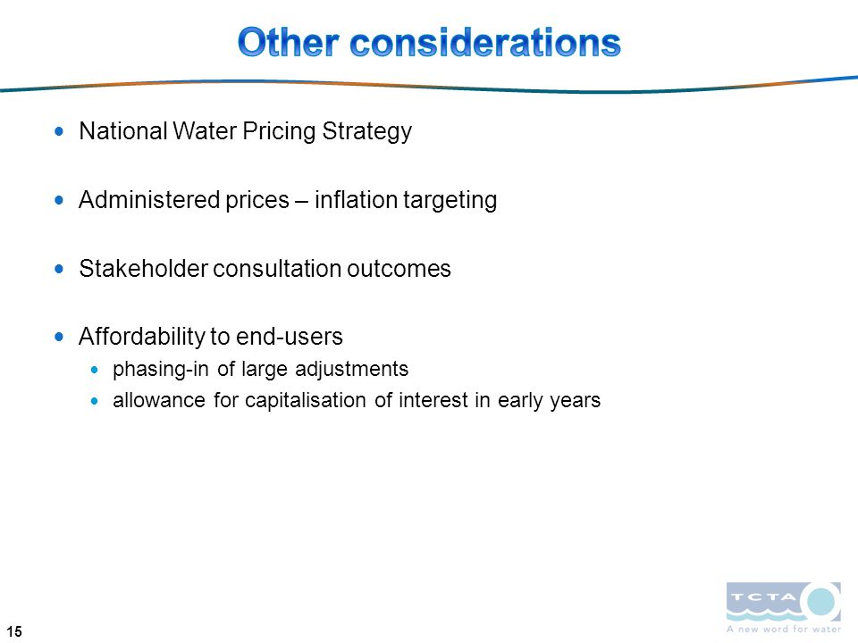 Other considerations National Water Pricing Strategy