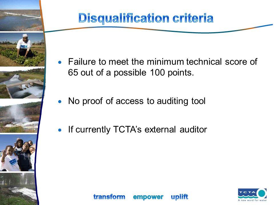 Disqualification criteria