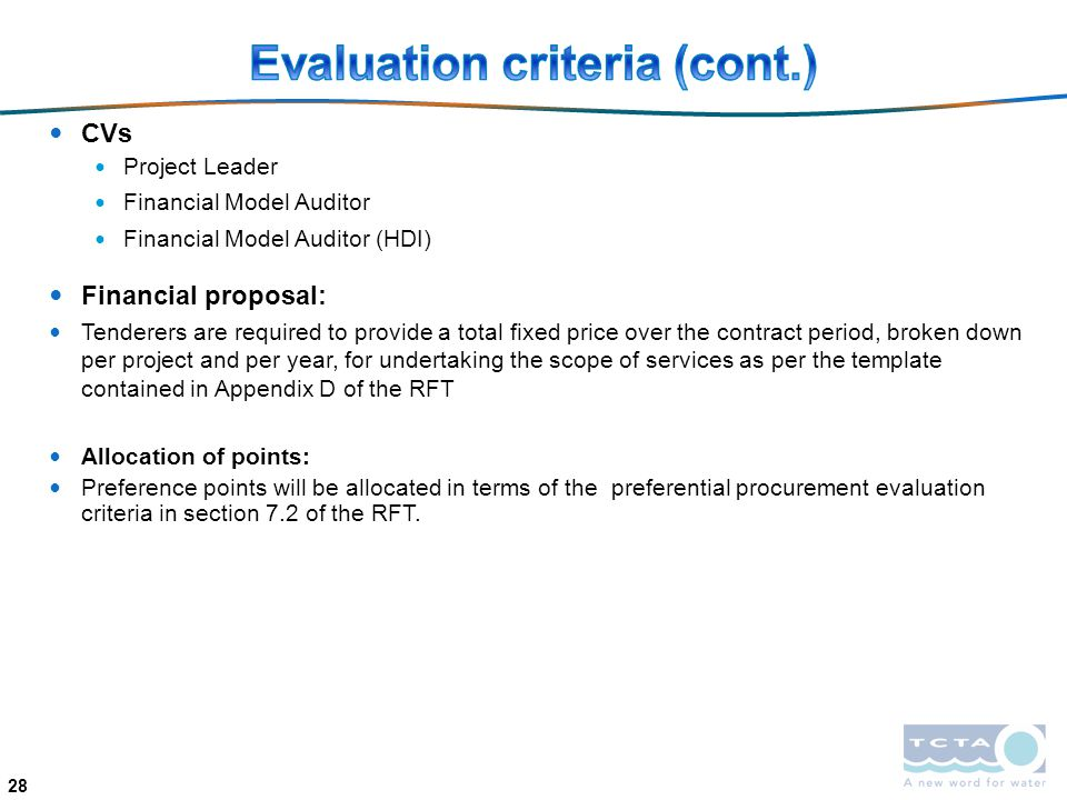 Evaluation criteria (cont.)