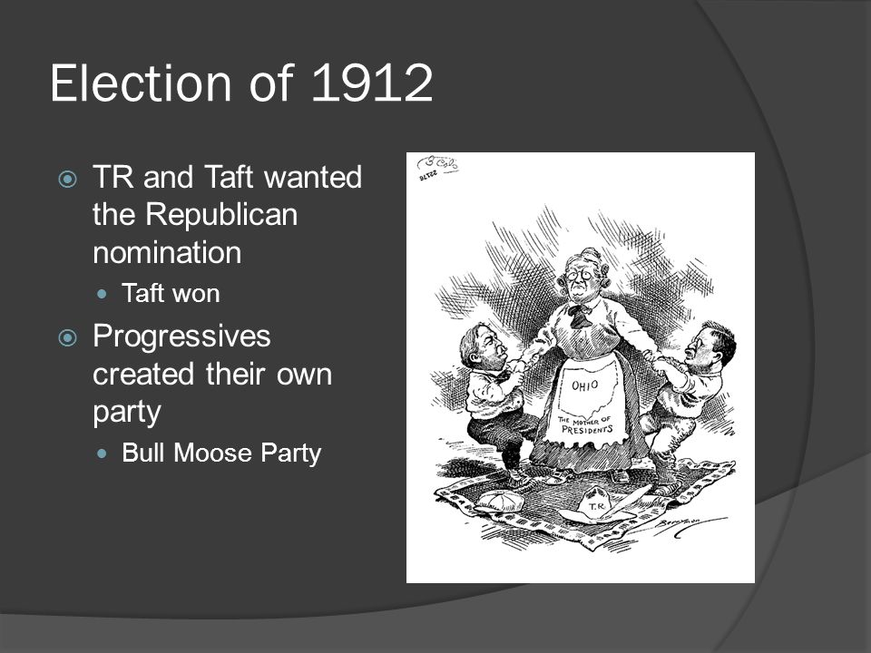 Election of 1912 TR and Taft wanted the Republican nomination