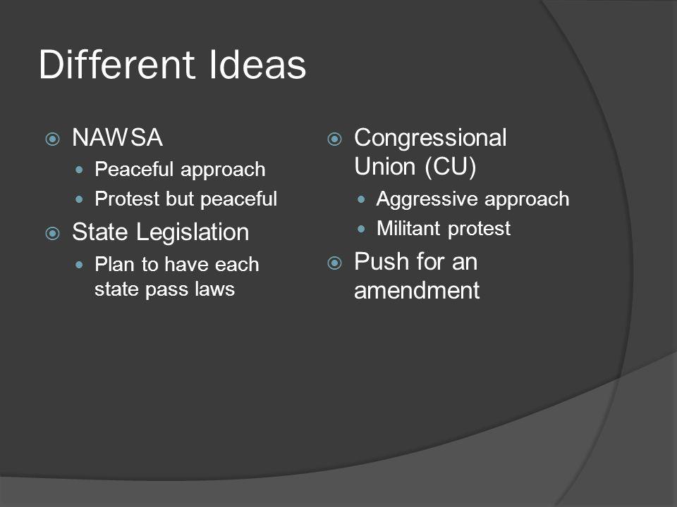 Different Ideas NAWSA State Legislation Congressional Union (CU)