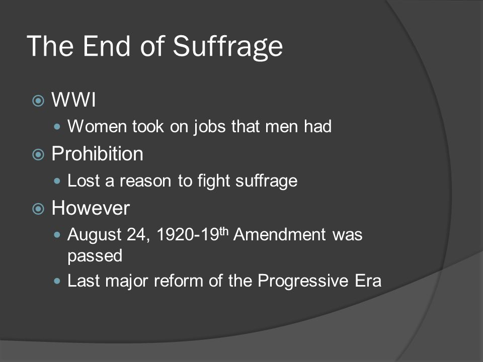 The End of Suffrage WWI Prohibition However