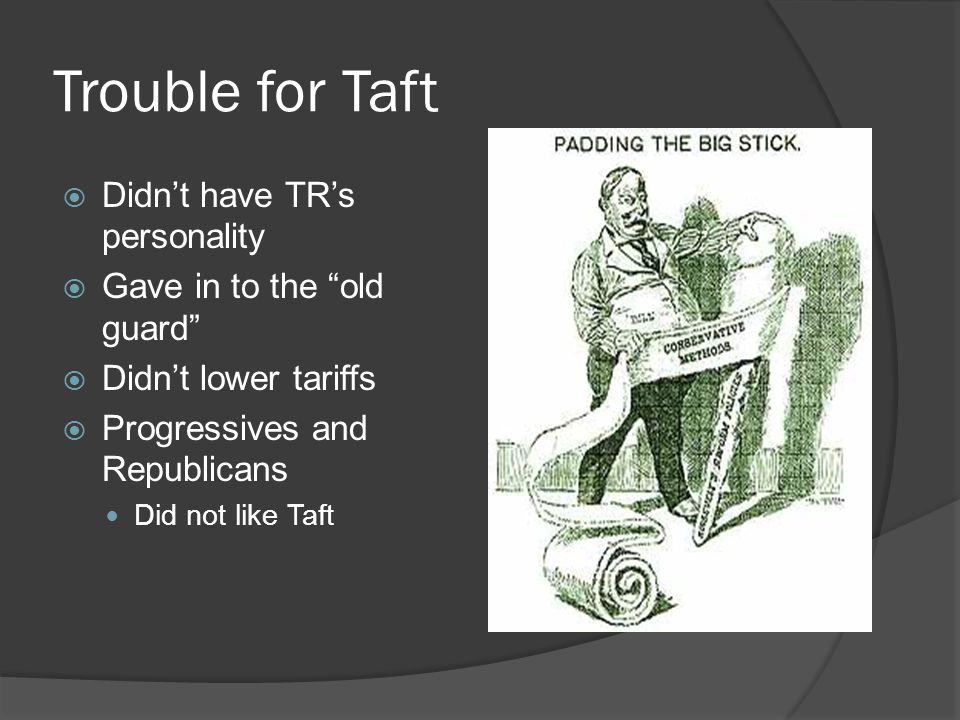Trouble for Taft Didn't have TR's personality