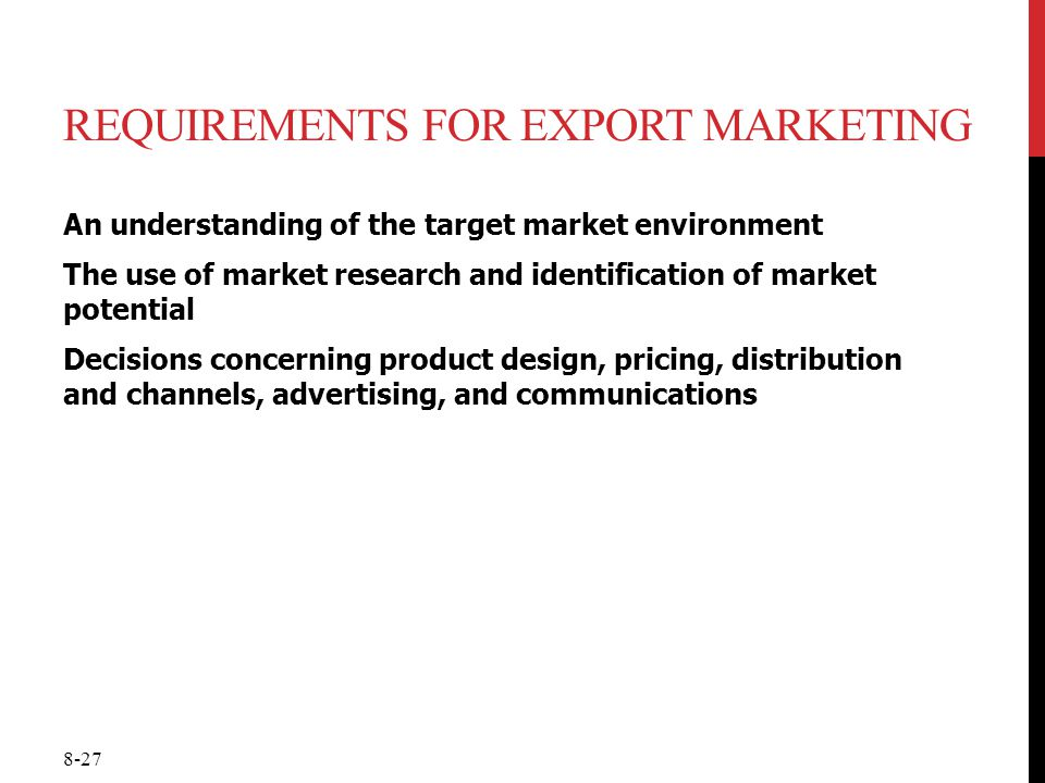 Requirements for Export Marketing