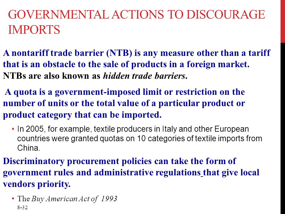 Governmental actions to discourage imports