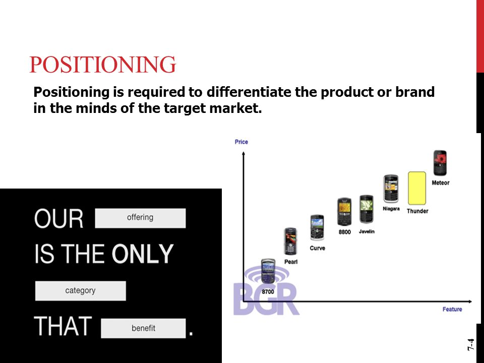 Positioning Positioning is required to differentiate the product or brand in the minds of the target market.