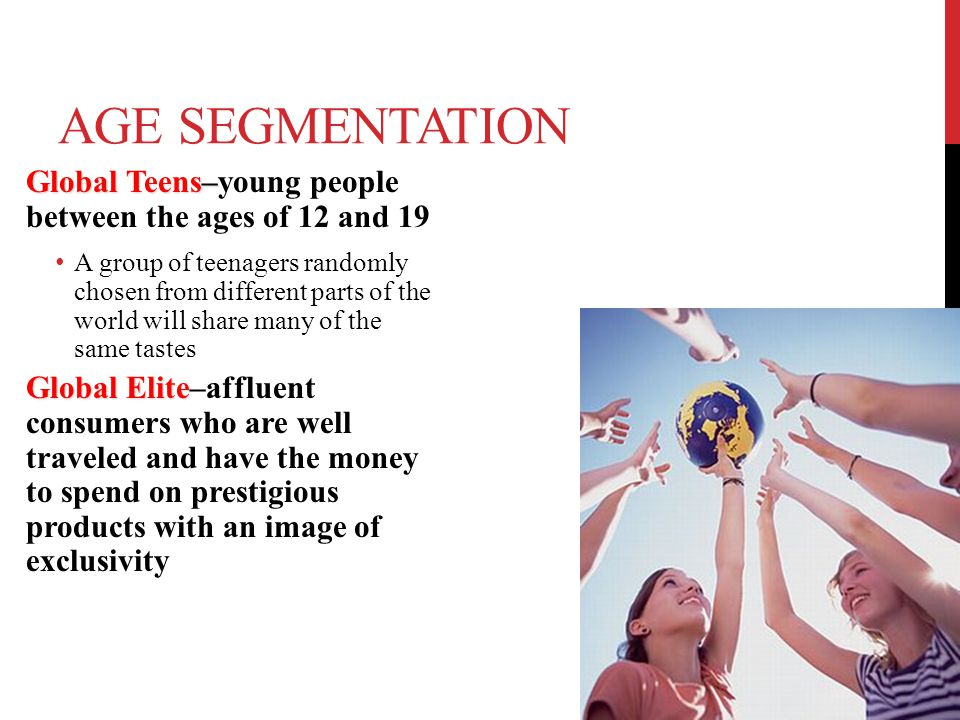 Age Segmentation Global Teens–young people between the ages of 12 and 19.