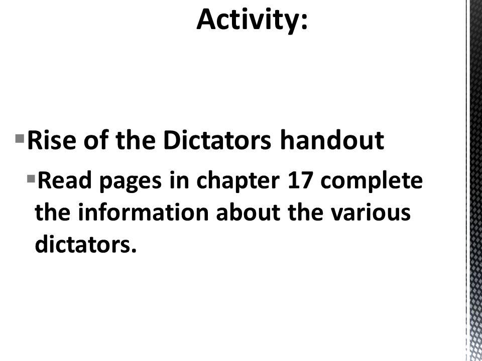 Activity: Rise of the Dictators handout