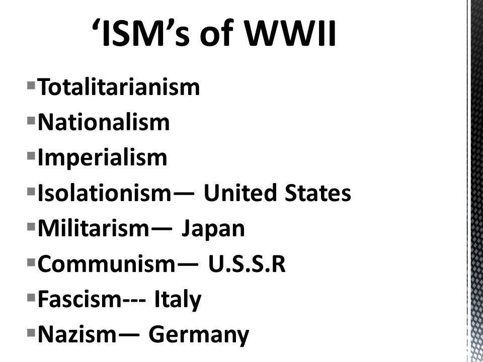 'ISM's of WWII Totalitarianism Nationalism Imperialism