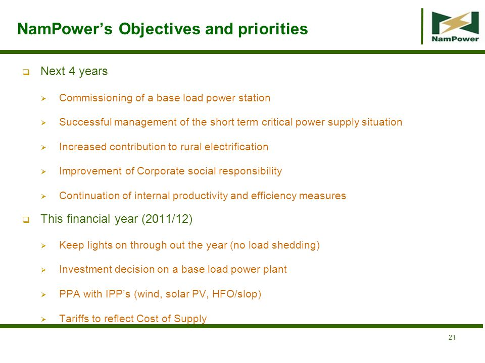 NamPower's Objectives and priorities