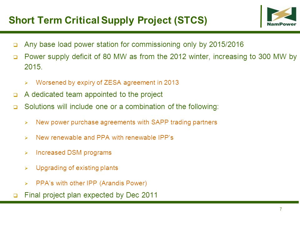 Short Term Critical Supply Project (STCS)