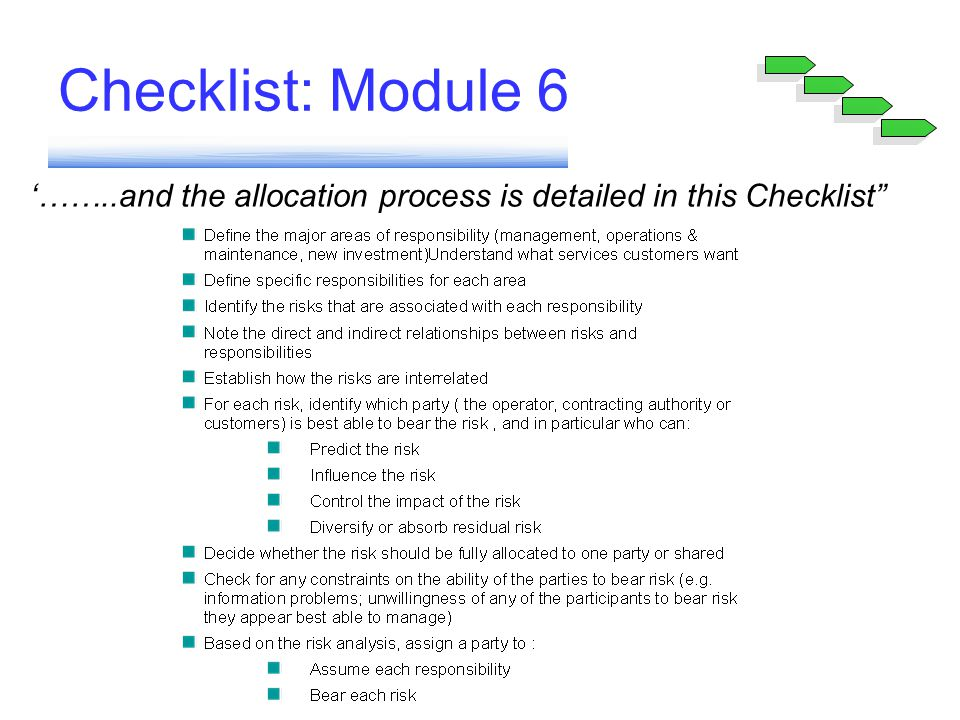 Checklist: Module 6 '……..and the allocation process is detailed in this Checklist