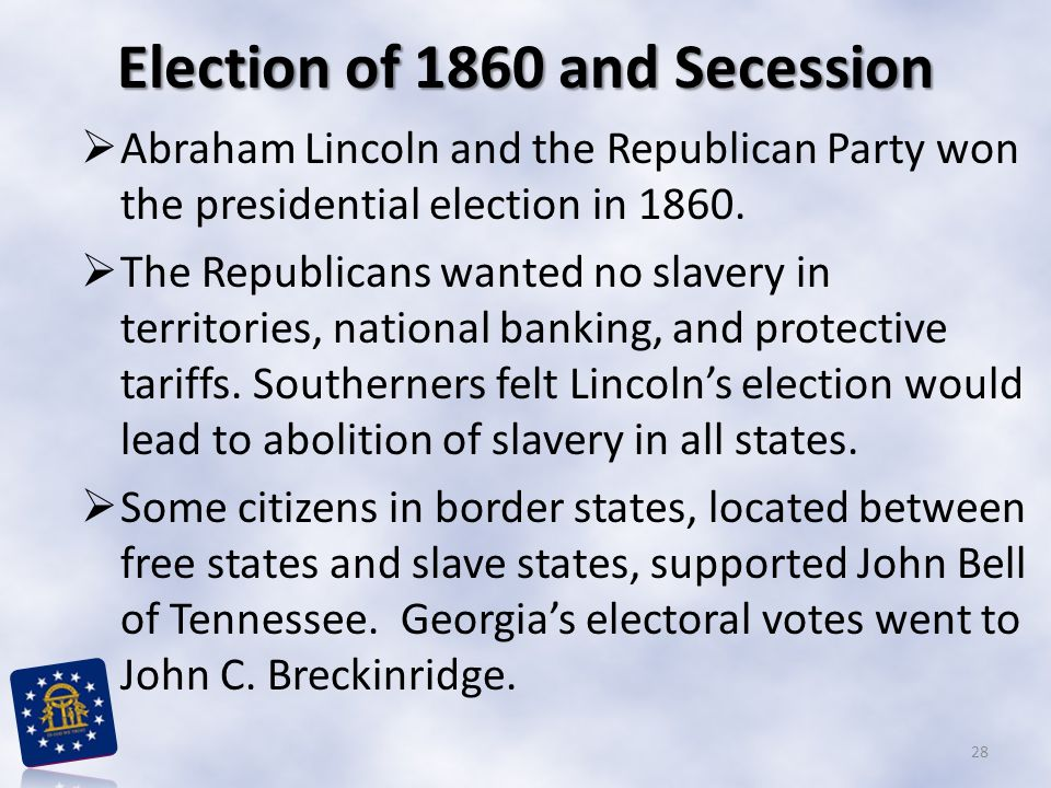 Election of 1860 and Secession