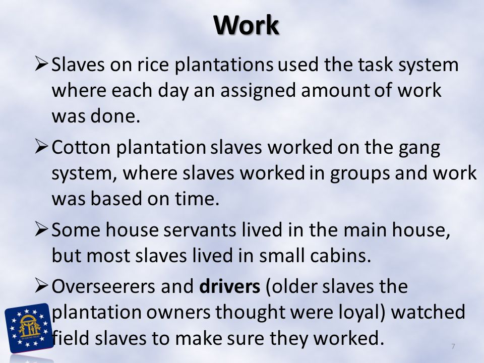 Work Slaves on rice plantations used the task system where each day an assigned amount of work was done.