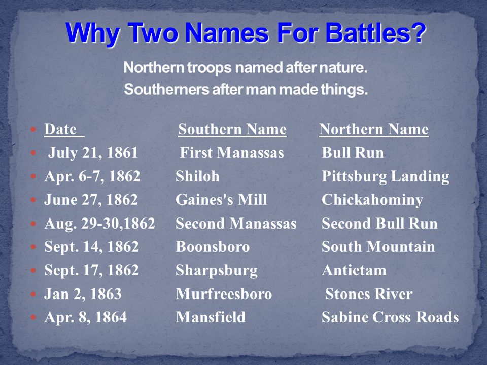 Why Two Names For Battles. Northern troops named after nature