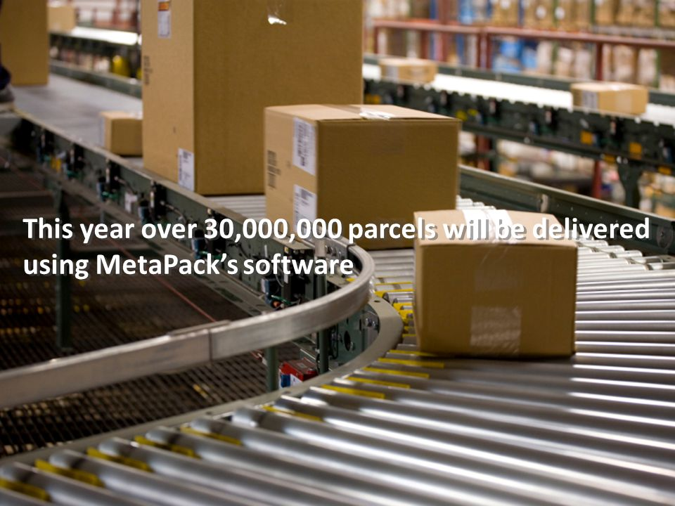 This year over 30,000,000 parcels will be delivered using MetaPack's software