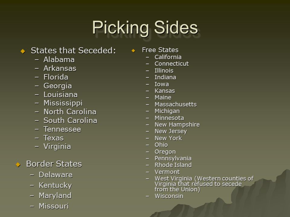 Picking Sides States that Seceded: Border States Alabama Arkansas