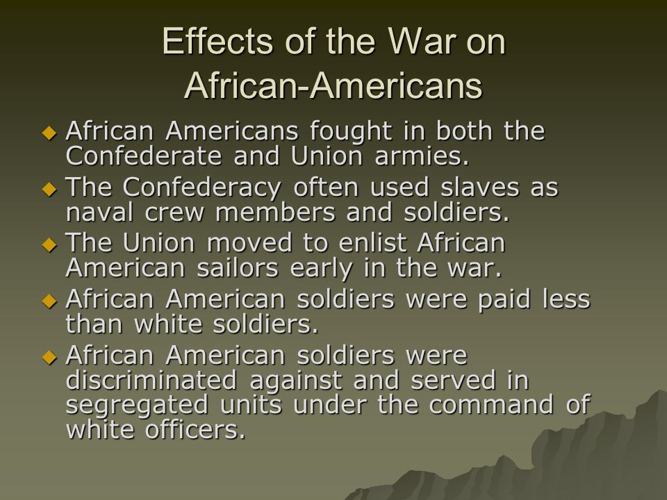 Effects of the War on African-Americans