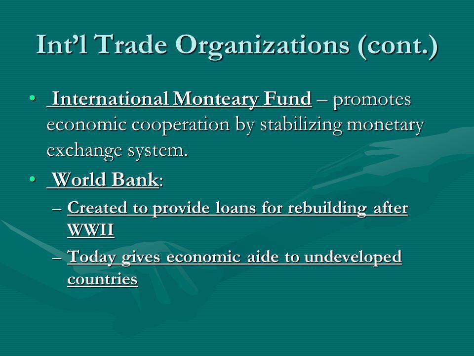 Int'l Trade Organizations (cont.)