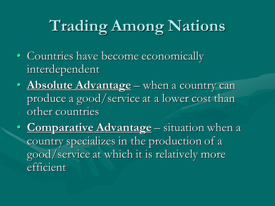 Trading Among Nations Countries have become economically interdependent.
