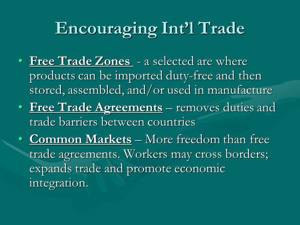 Encouraging Int'l Trade
