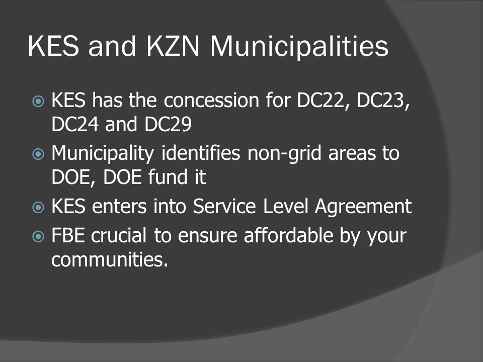 KES and KZN Municipalities