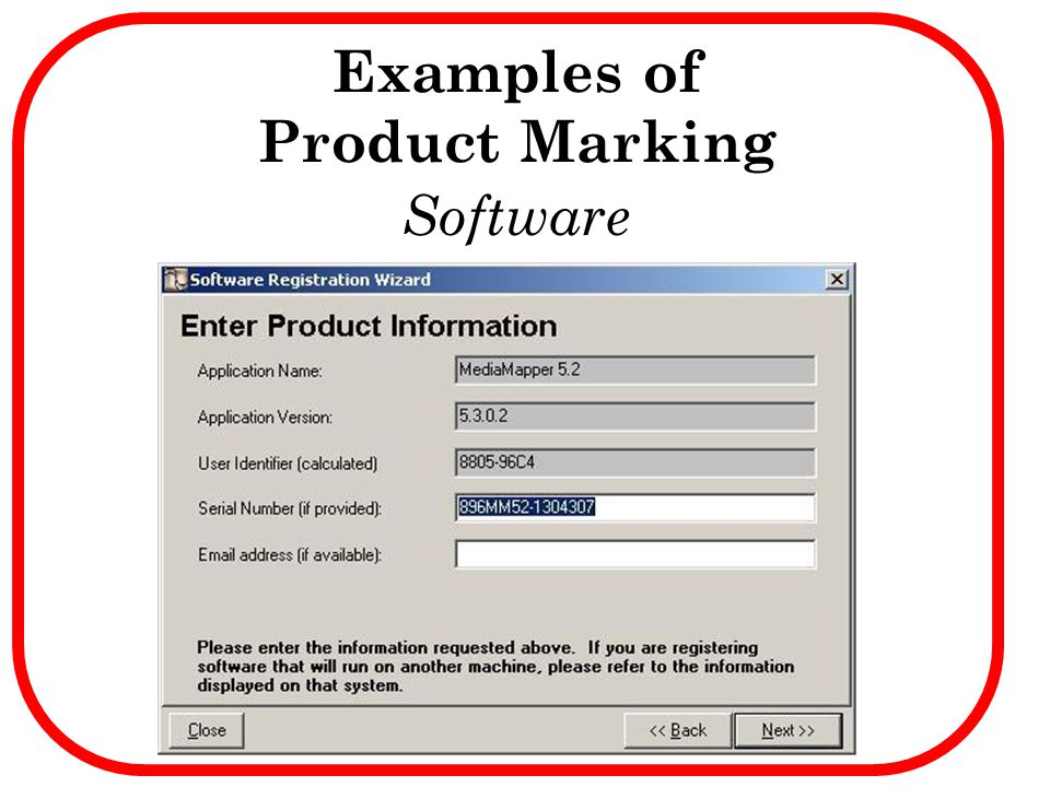Examples of Product Marking