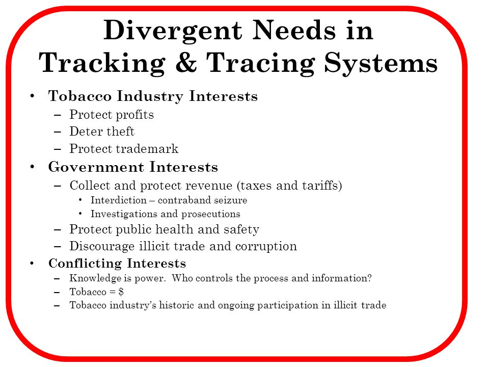 Divergent Needs in Tracking & Tracing Systems
