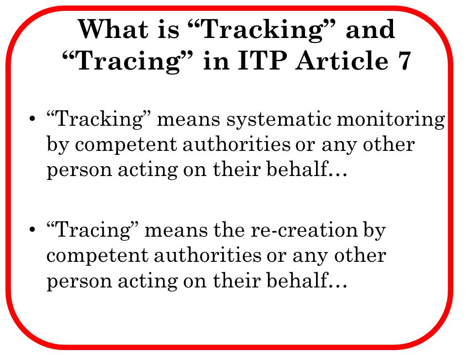 What is Tracking and Tracing in ITP Article 7