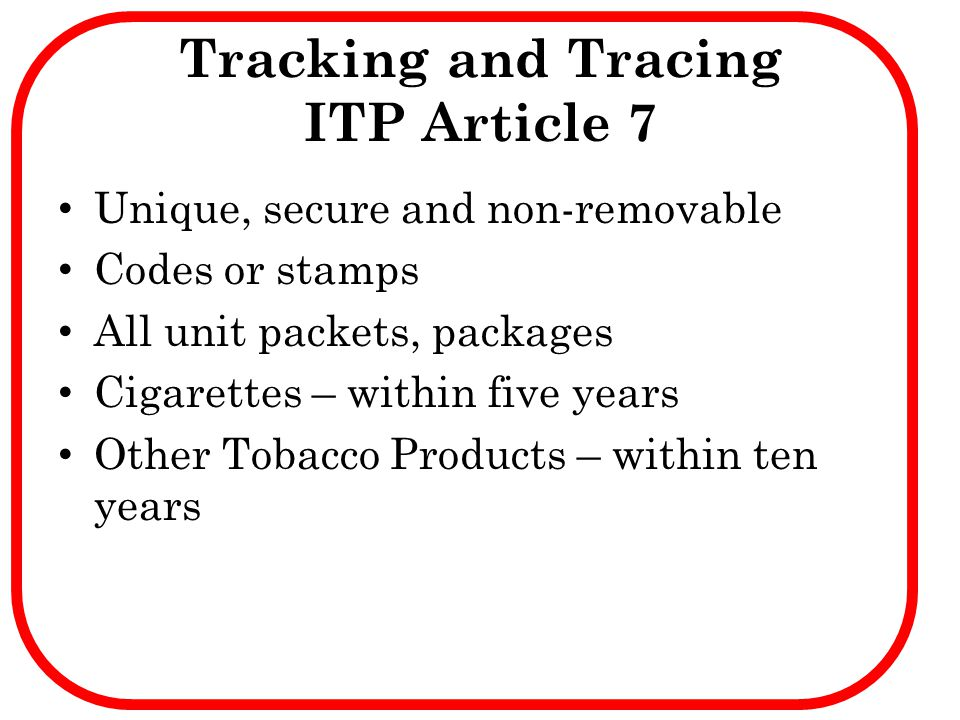 Tracking and Tracing ITP Article 7