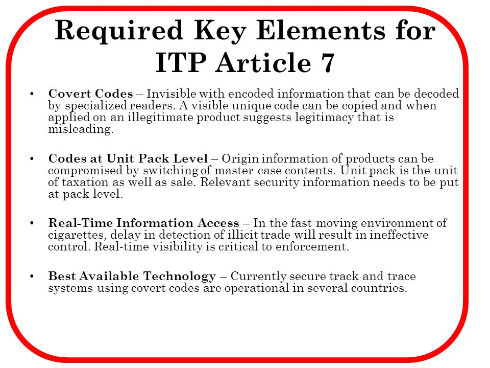 Required Key Elements for ITP Article 7
