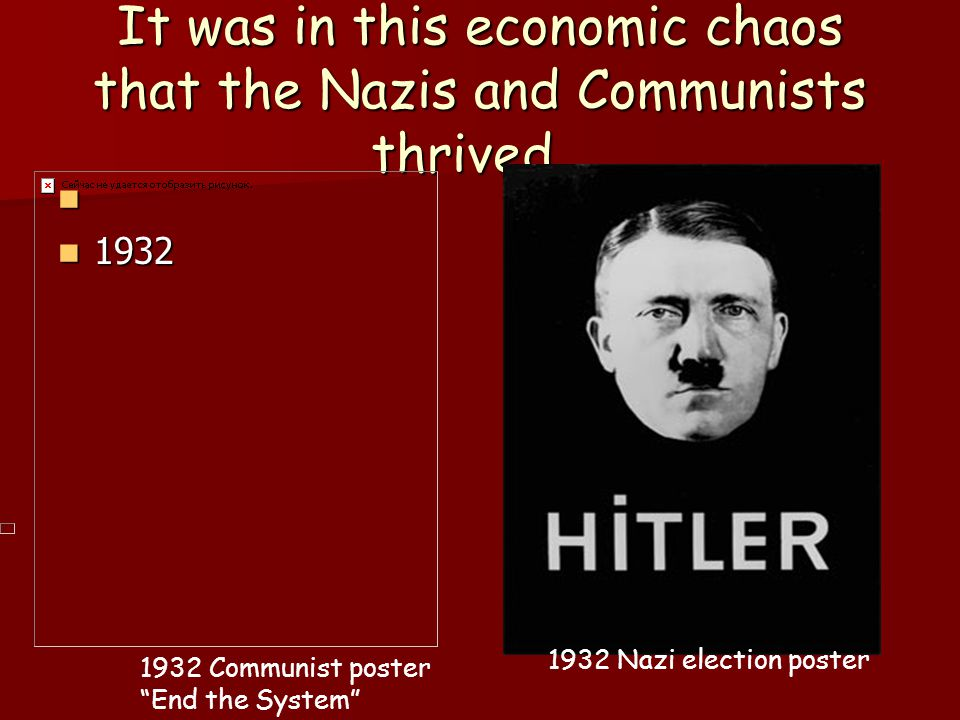 It was in this economic chaos that the Nazis and Communists thrived…