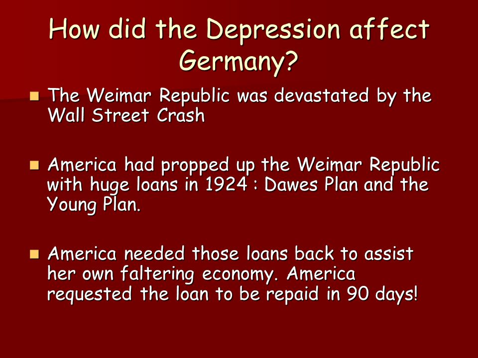 How did the Depression affect Germany
