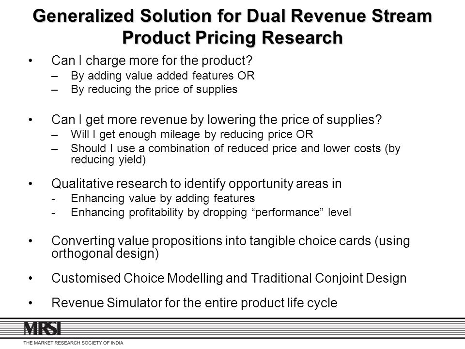 Generalized Solution for Dual Revenue Stream Product Pricing Research