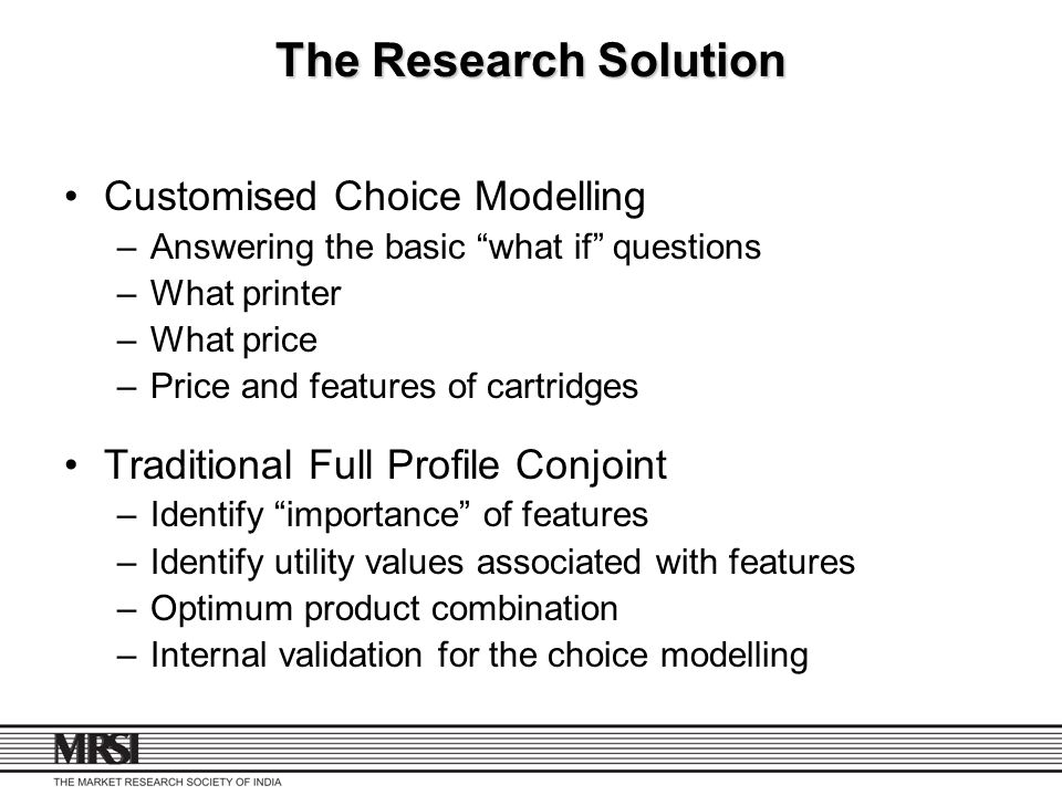 The Research Solution Customised Choice Modelling