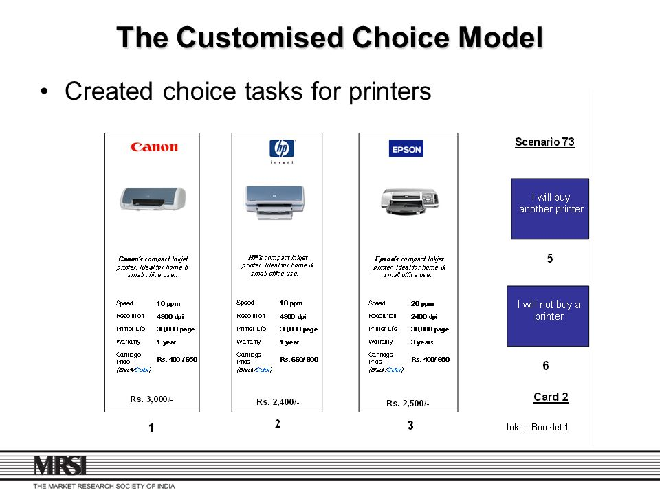 The Customised Choice Model