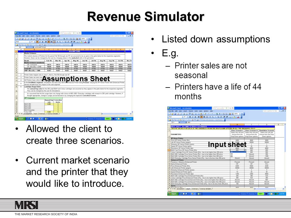Revenue Simulator Listed down assumptions E.g.