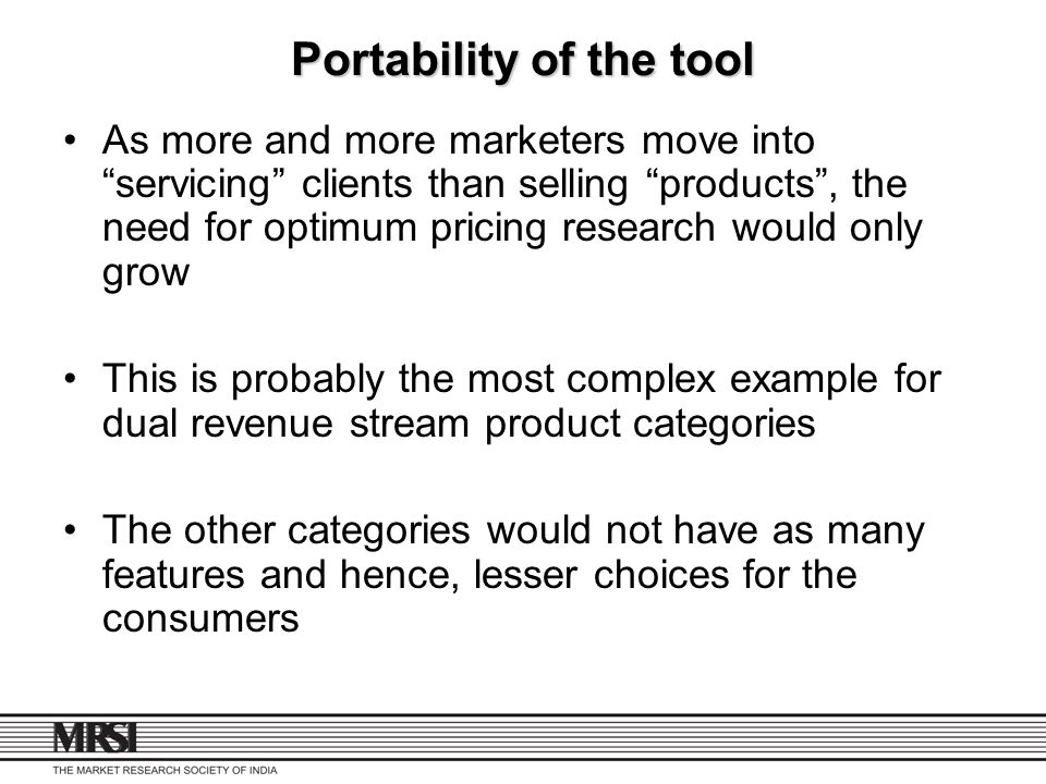 Portability of the tool