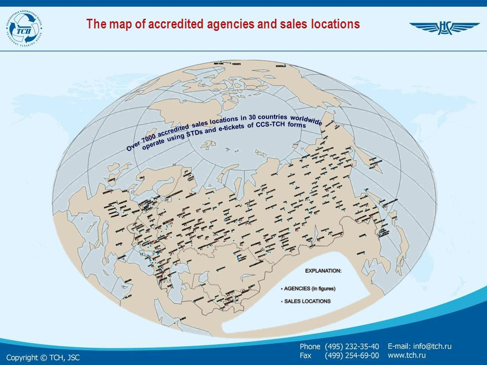 The map of accredited agencies and sales locations